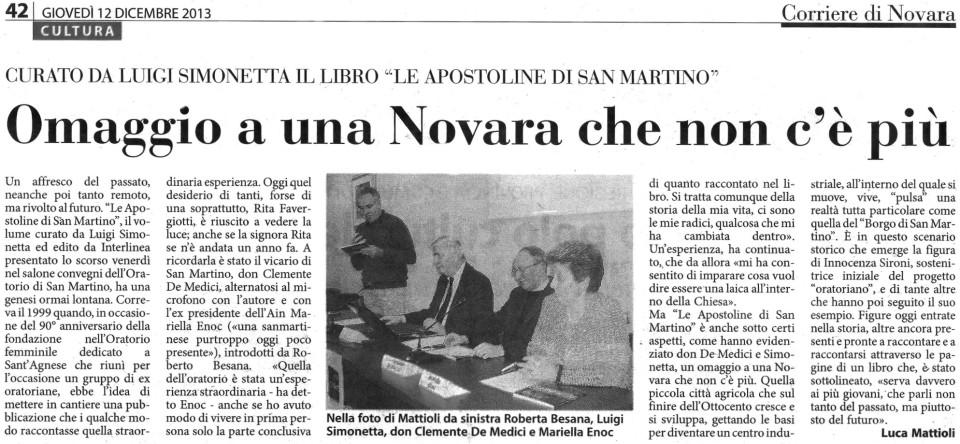 Articolo Apostoline Corriere Novara 12-12-13
