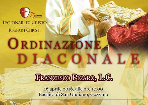 locandina ordinazione diaconale Francesco Picaro