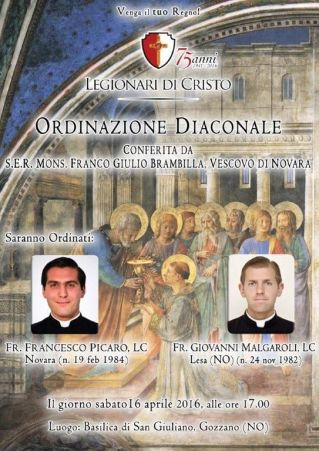 manifesto ordinazione diaconale Francesco Picaro