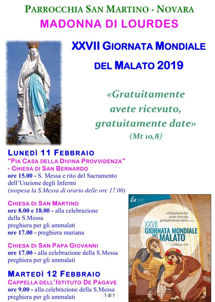 locandina festa madonna lourdes e giornata mondiale malato 2019