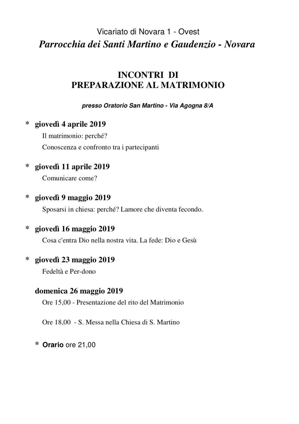 programma incontri preparazione matrimonio san martino 2019