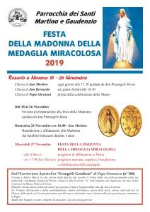 Locandina Festa Madonna Madonna Medaglia Miracolosa 2019