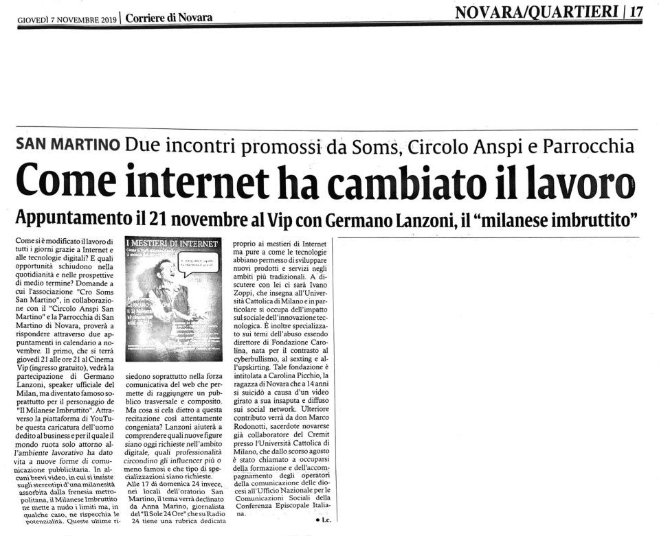 191107 corriere novara articolo progetto soms giovani lavoro internet
