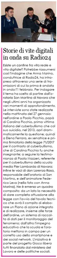 200204 articolo intervista radio24 cyberbullismo rivista anspi