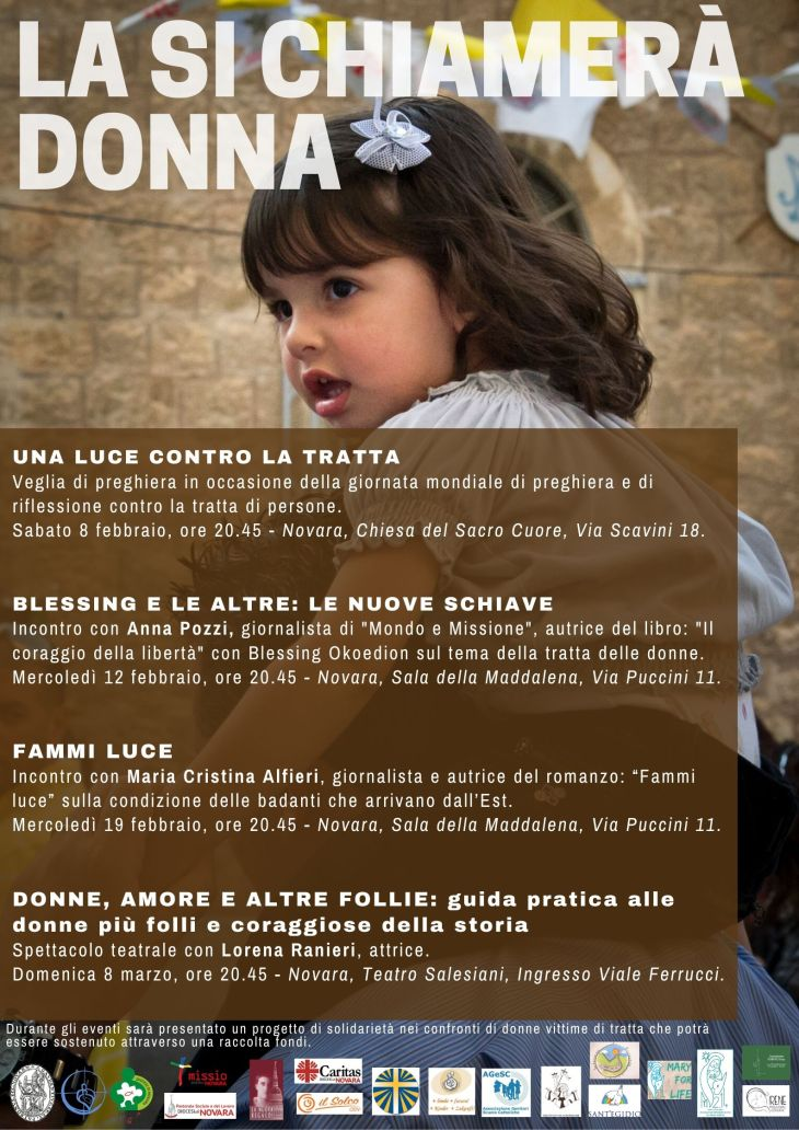 locandina incontri 'la si chiamerà donna' febbraio - marzo 2020