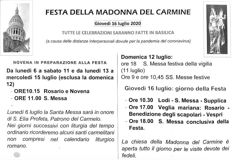 manifesto festa madonna carmine 2020